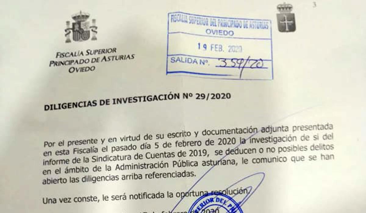 La Fiscalía abre dilixencies al «Principado» a propuesta d'Andecha Astur