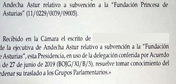 """Almitía a trámite la propuesta d'Andecha Astur pa que'l """"Principado"""" dexe de financiar los """"Premios Princesa"""""""