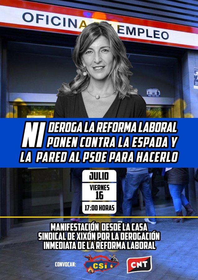 Escontra la reforma llaboral que caltienen PSOE, Podemos ya IU